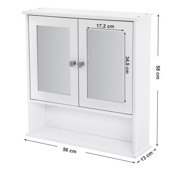 Kúpeľňová skrinka so zrkadlom LHC002 biela 9
