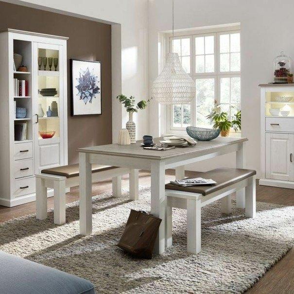 Jídelní stůl LIMA pinie/bílá 3