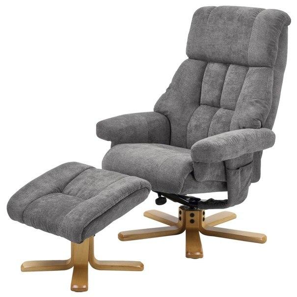 Relaxační křeslo s taburetem LINGEN šedá 1