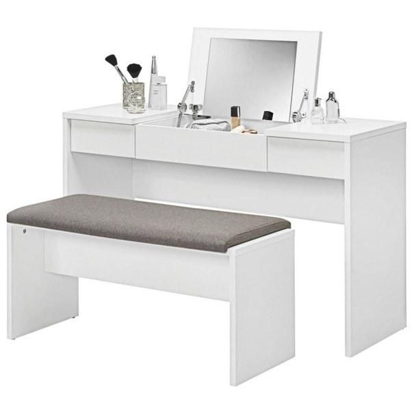 Toaletní stolek s lavicí LIPSTICK bílá/hnědobílá 1