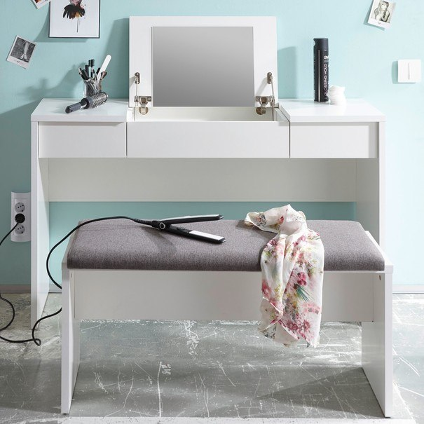 Toaletní stolek s lavicí LIPSTICK bílá/hnědobílá 4