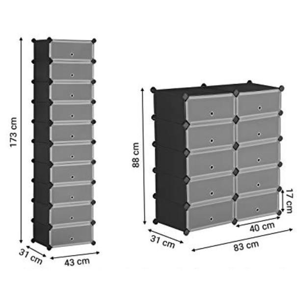 Šuplíkový regál LPC10HV1 černá/transparentní 5