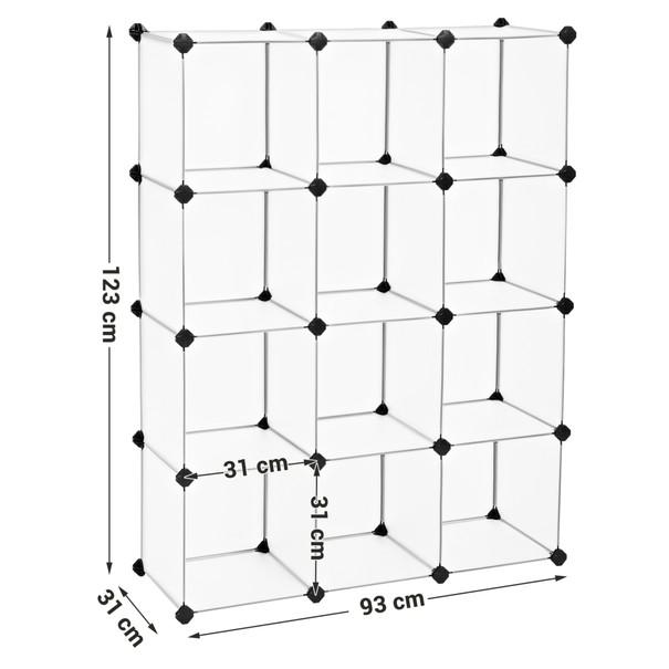 Regál LPC34L bílá/transparentní 3
