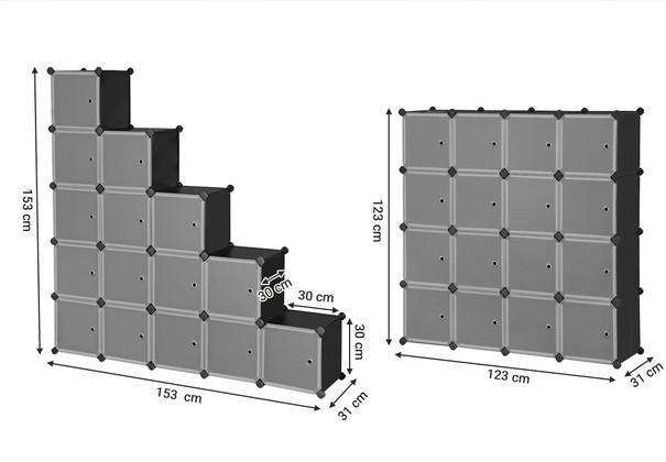 Regál LPC44S černá/transparentní 3