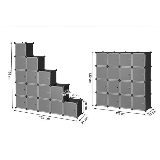 Regál LPC44BS čierna/transparentná 10