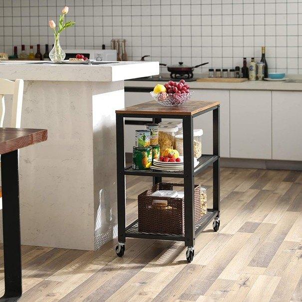 Servírovací stolek  LRC78X černá/hnědá 2