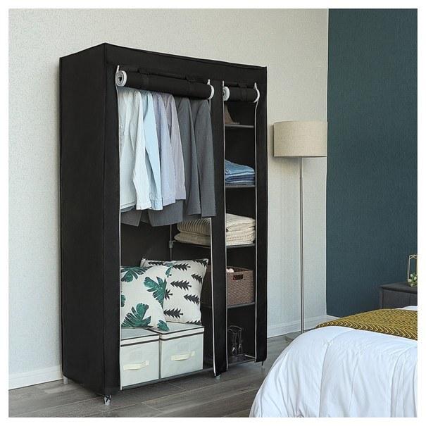 Látková šatní skříň LSF007 černá 2