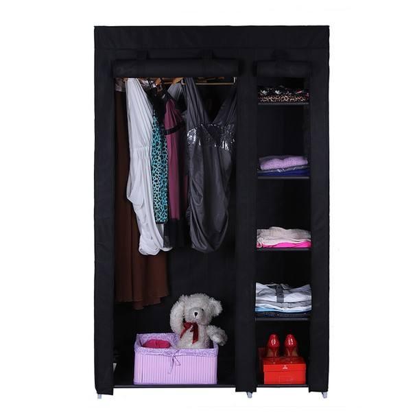 Látková šatní skříň LSF007 černá 6