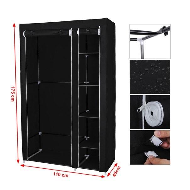 Látková šatní skříň LSF007 černá 7