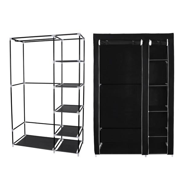 Látková šatní skříň LSF007 černá 9