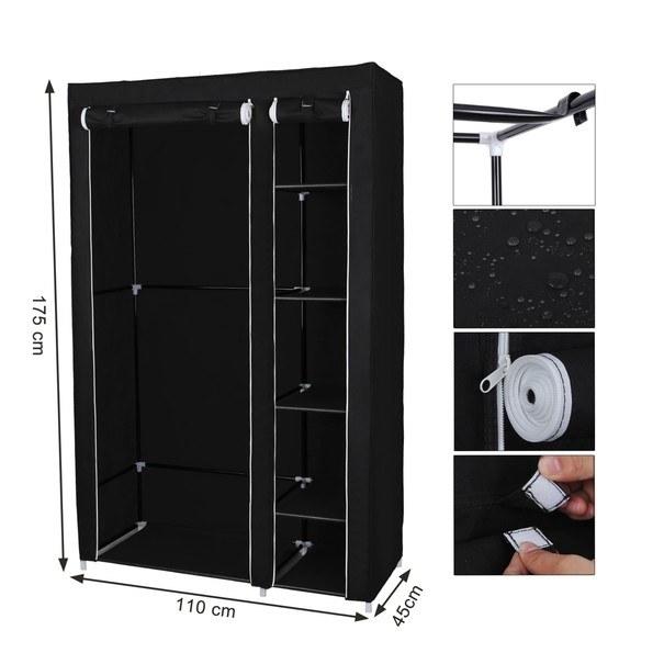 Látková šatní skříň LSF007 černá 10