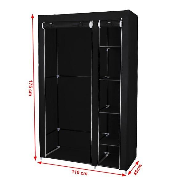 Látková šatní skříň LSF007 černá 11