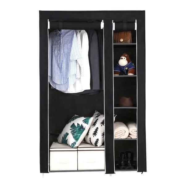 Látková šatní skříň LSF007 černá 13
