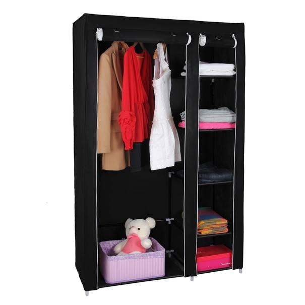 Látková šatní skříň LSF007 černá 20