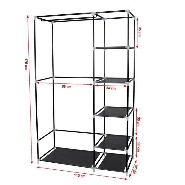 Látková šatní skříň LSF007 černá 24
