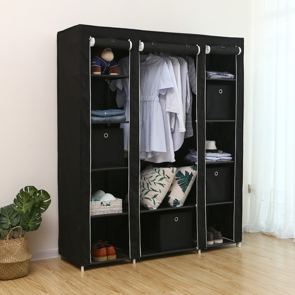 Látková šatní skříň LSF03H černá 2