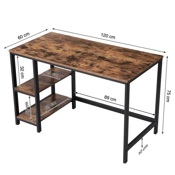 Psací stůl LWD47X černá/hnědá 6