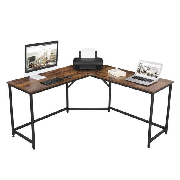 Rohový psací stůl LWD73X černá/hnědá 3