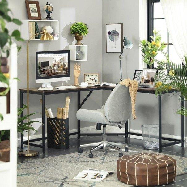 Rohový psací stůl LWD73X černá/hnědá 4