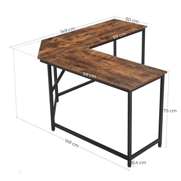 Rohový psací stůl LWD73X černá/hnědá 6