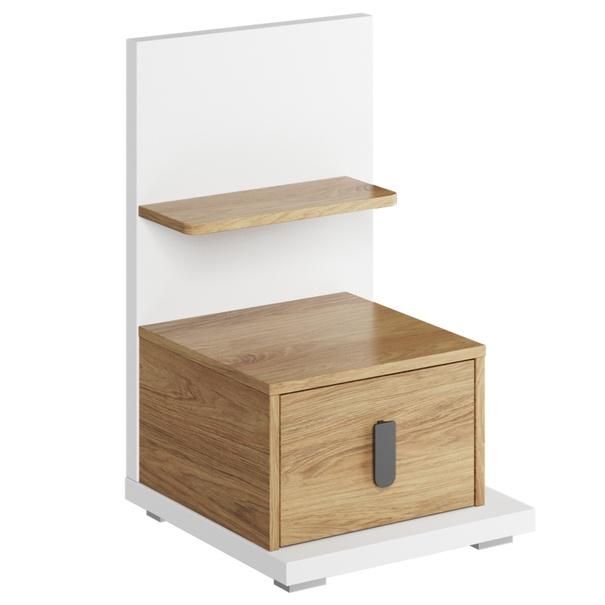 Noční stolek MASSI 08 dub hikora/bílá, pravé provedení 1