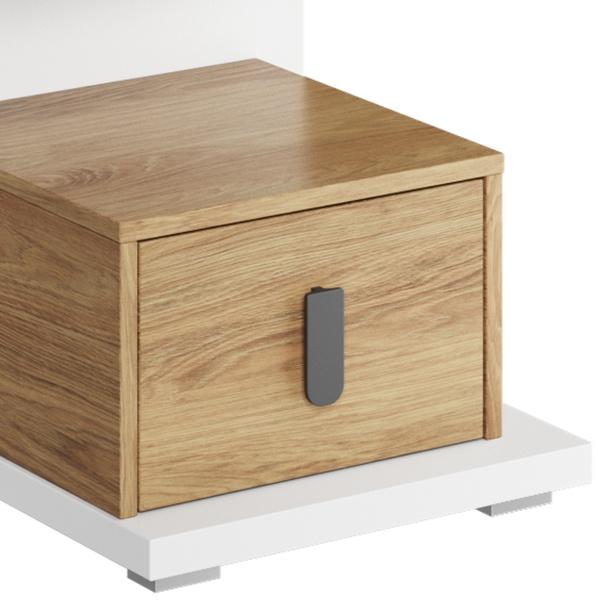 Noční stolek MASSI 08 dub hikora/bílá, pravé provedení 4