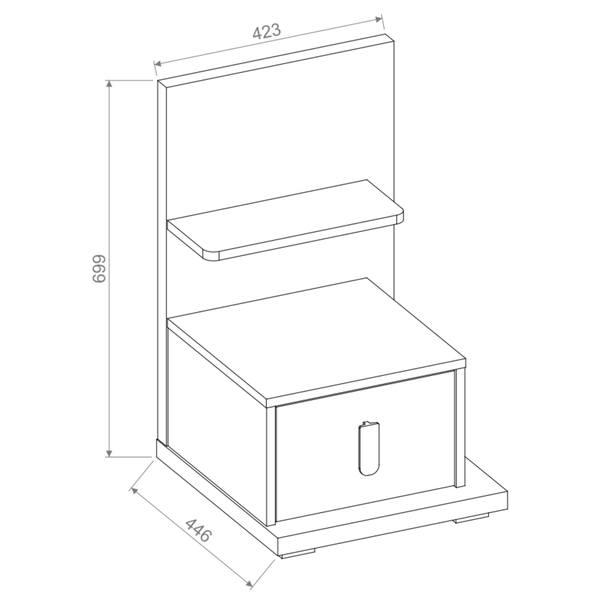 Noční stolek MASSI 08 dub hikora/bílá, pravé provedení 11