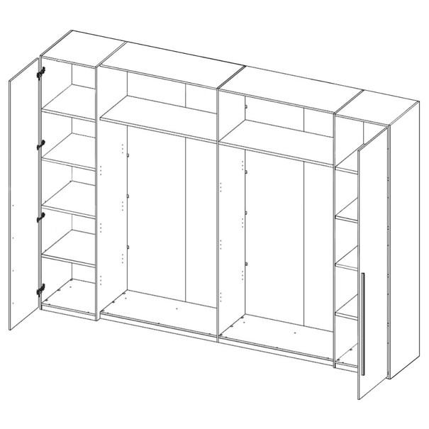 Šatní skříň s kombinovanými dveřmi MERWIN dekor dub/beton 3