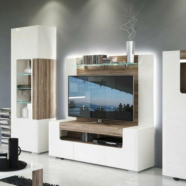 TV komoda MILANO alpská bílá/dub sanremo tmavý, šířka 140 cm 6