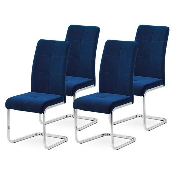 Sconto Sada jedálenských stoličiek MIRELLA 4 ks-modrá/chróm