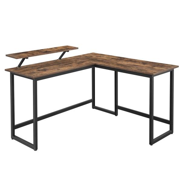 Sconto Rohový PC stôl MONA II čierna/hnedá
