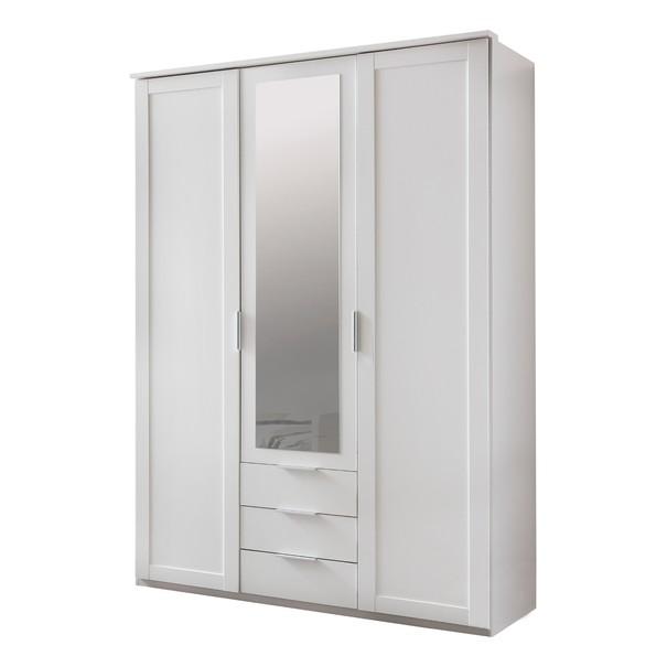 Sconto Šatní skříň NATHAN bílá, 135 cm, 1 zrcadlo - nábytek SCONTO nábytek.cz