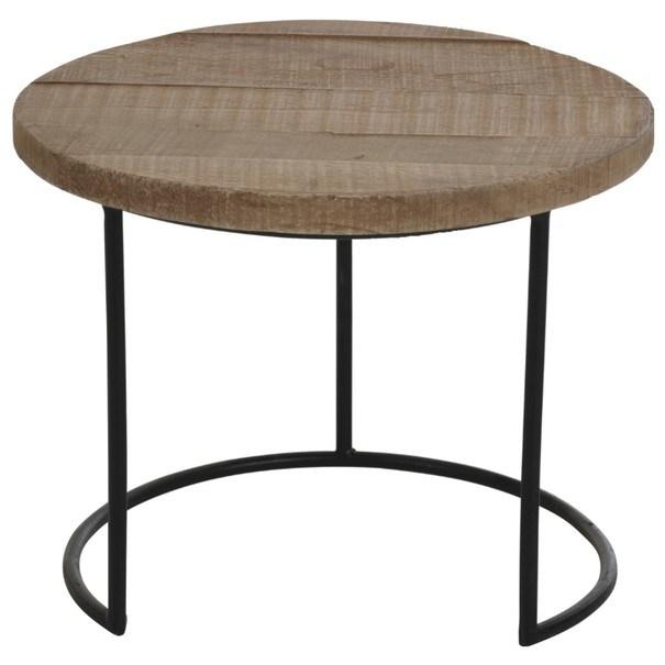 Prístavný stolík NATURE 1 prírodný teak/čierna 1