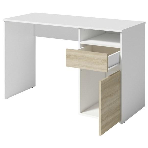 Písací stôl NEAPOL biela/duba sonoma 2