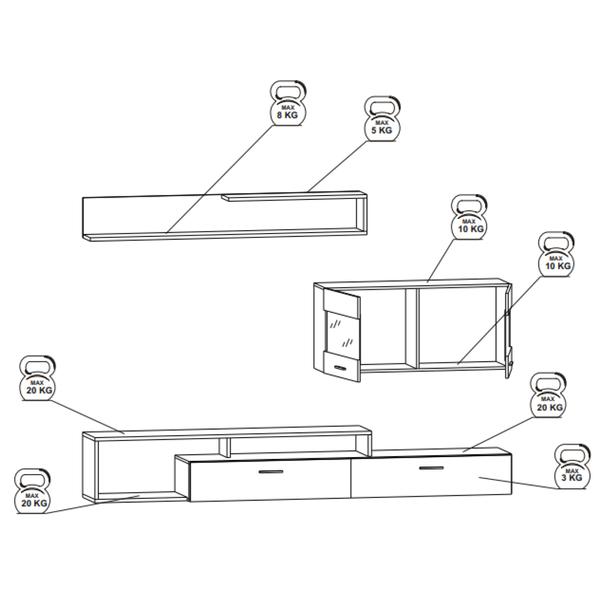 Obývacia stena NEW VISION 3 dub artisan/biela 3