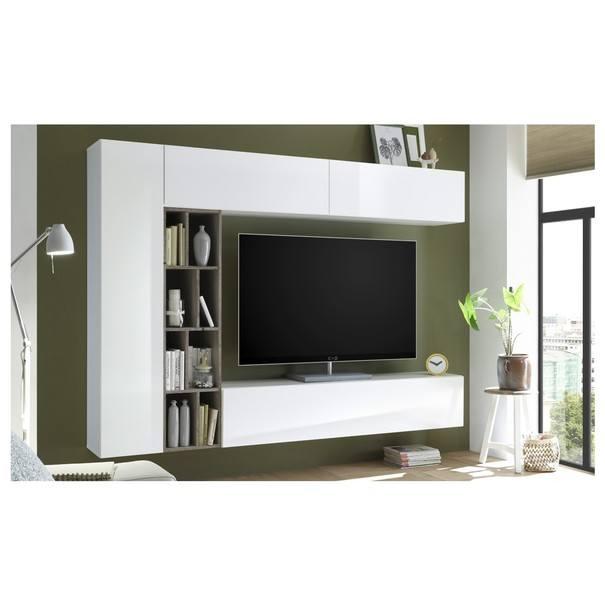 Obývacia stena NEW VISION 7 dub ribbeck/biela vysoký lesk 2