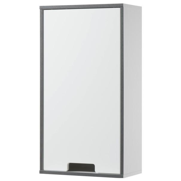 Sconto Horní závěsná skříňka NEWPORT bílá/antracitová