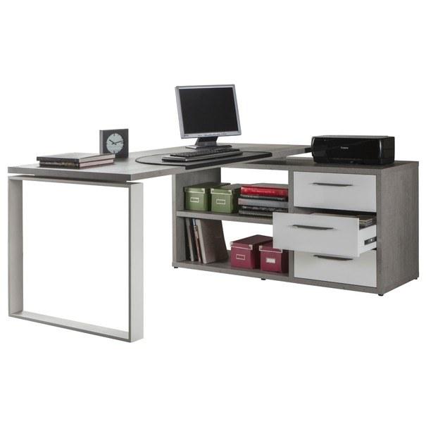Sconto Kancelářský stůl NUOVO beton/bílá - nábytek SCONTOnábytek.cz