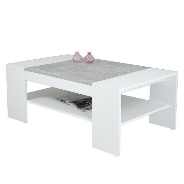 Konferenční stolek OLIVER bílá/beton 1