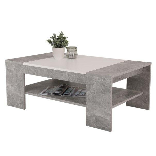 Konferenční stolek OLIVER beton/bílá 1