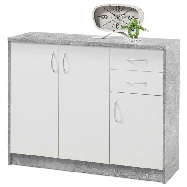 Sconto Komoda OPTIMUS 38-005 bílá/beton - nábytek SCONTOnábytek.cz
