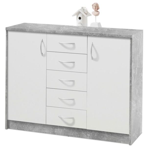 Sconto Komoda OPTIMUS 38-007 bílá/beton - nábytek SCONTO nábytek.cz