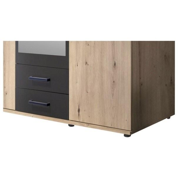 Šatní skříň OTMAR dub artisan/antracit 6