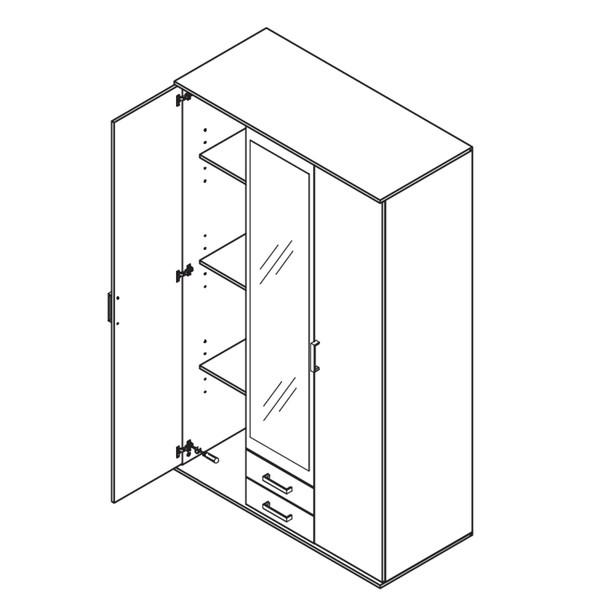 Šatní skříň OTMAR dub artisan/antracit 3