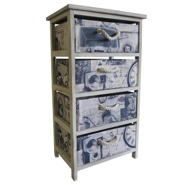 Komoda/regál so zásuvkami PARIS 005 krémová s potlačou/biela 1