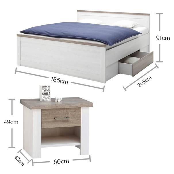Postel s nočními stolky PARVATI bílá, 180x200 cm 6