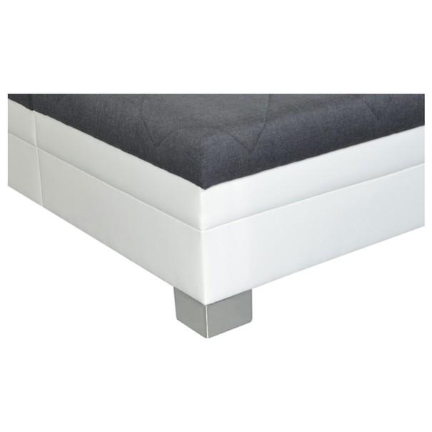 Postel s polohovacím roštem a matrací PETTIGO bílá/šedá, 160x200 cm 3