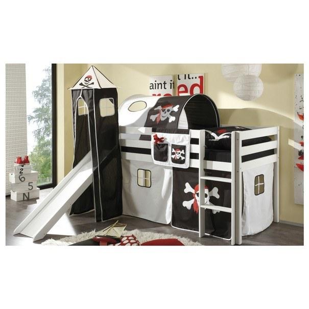 Tunel k posteli ARNIKA PIRAT černá/bílá/červená 1
