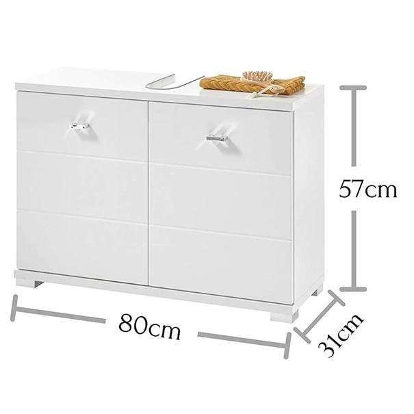 Umyvadlová skříňka POOL, 80 cm bílá vysoký lesk 4