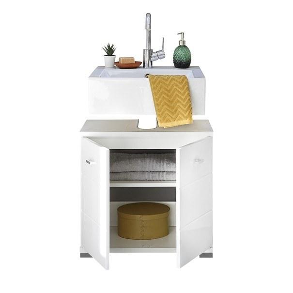 Umyvadlová skříňka POOL 60 cm, bílá vysoký lesk 3